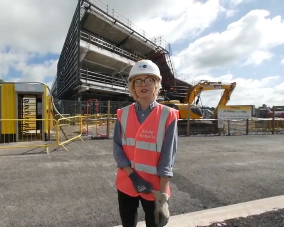 Emily Roberts outside Menai Science Park during the build stage