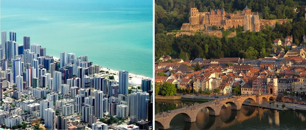The cities of Recife (left) and Heidelberg