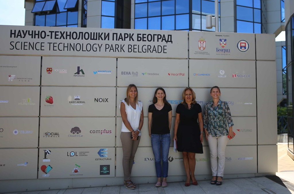 Ebba Lund with Gordana Grkovic, Jelena Petrović & Marija Mirkovic at Science Technology Park Belgrade