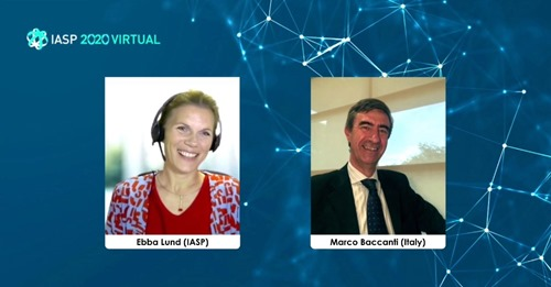 Ebba Lund talks to IASP past president Marco Baccanti
