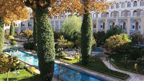The courtyard of the Abbasi Hotel