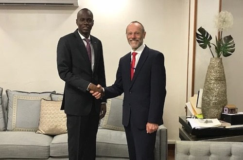 Dr Parry with President Jovenel Moïse of Haiti