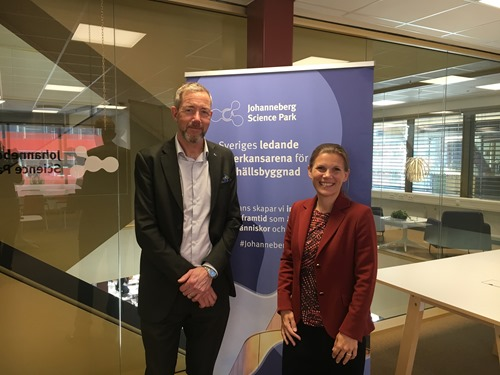 Ebba with Johanneberg's Björn Westling, Director of SME relations